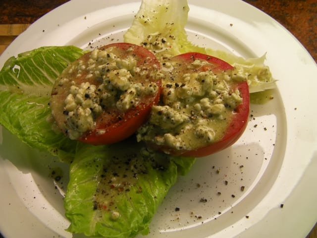 Beefsteak Tomato Salad with Blue Cheese Vinaigrette