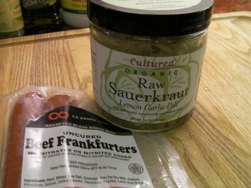 Raw Sauerkraut Uncured Frankfurters