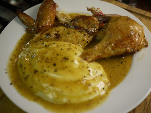 recipe: chicken and gravy over mashed potatoes [16]