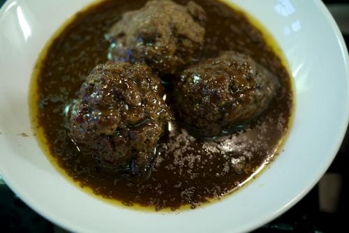 Meatballs in Beef Stock Red Wine Reduction