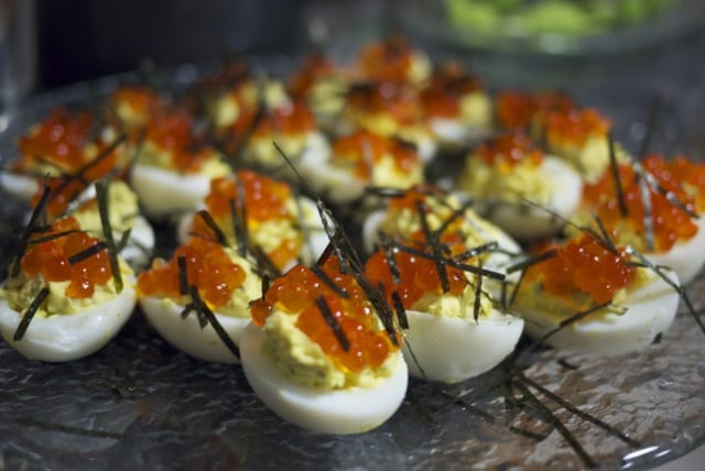 deviled eggs with salmon roe ikura and nori - Christmas Deviled Eggs