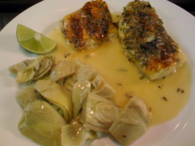 Cod in green curry