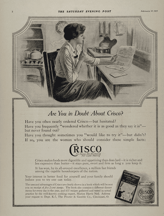 1915 Crisco Shortening Ad