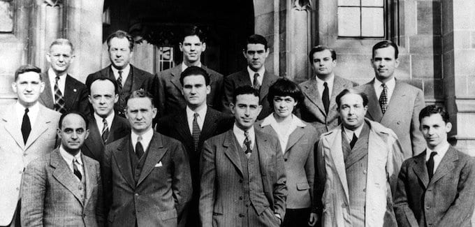 Catalog Number: Fermi Enrico E13 Met Lab alumni, 1946. Fermi first row left, Szilard second from right. This team worked with Enrico Fermi during the Second World War in achieving the first self-sustained chain reaction in nuclear energy on December 2, 1942, at Stagg Field, University of Chicago. Credit: Digital Photo Archive, Department of Energy, courtesy AIP Emilio Segre Visual Archives Credit: U.S. Department of Energy, Historian's Office. This image is in the Public Domain.