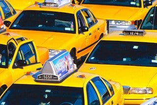 Yellow Taxis Waiting at Airport