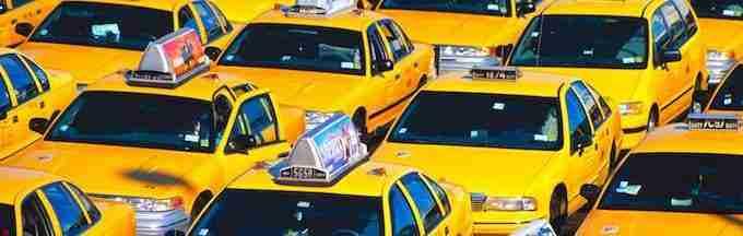 Yellow Taxis Waiting at Airport
